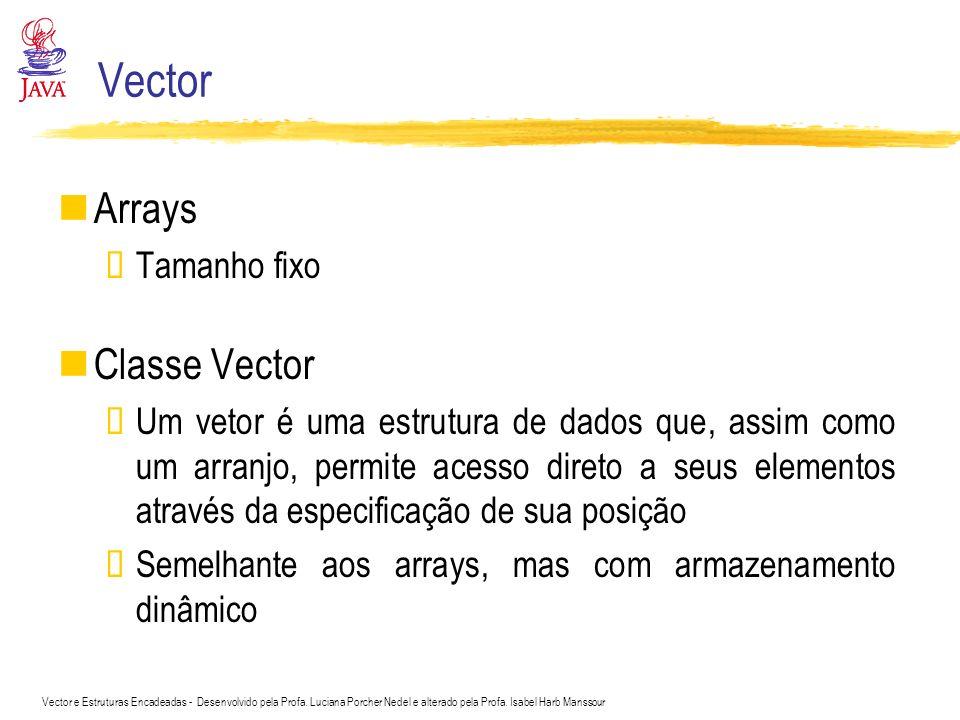 Vector Arrays Classe Vector Tamanho fixo
