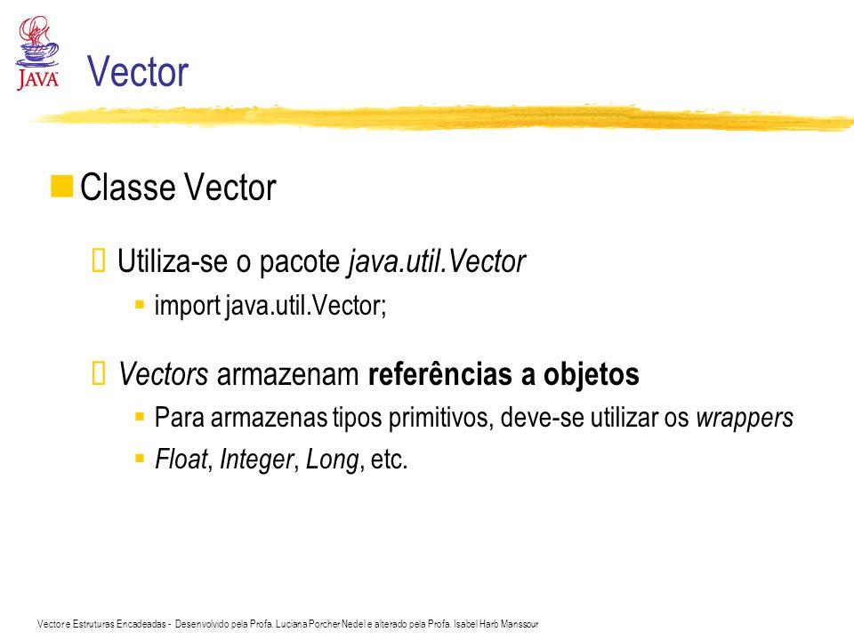 Vector Classe Vector Utiliza-se o pacote java.util.Vector