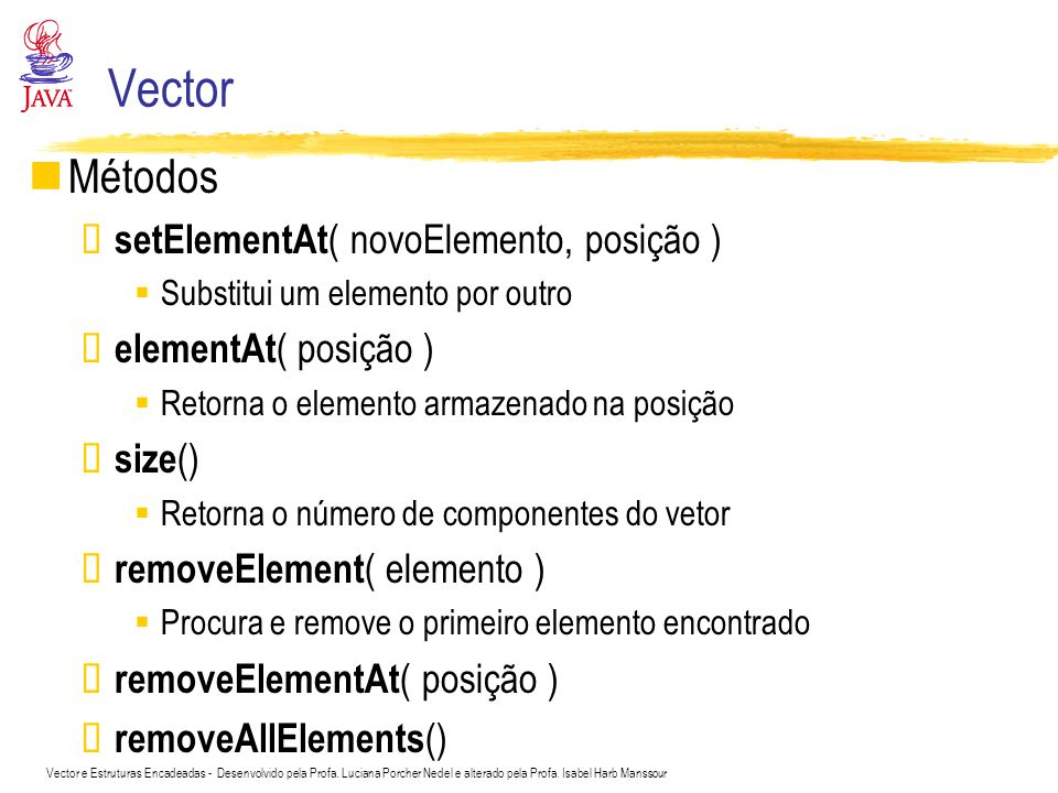 Vector Métodos setElementAt( novoElemento, posição )