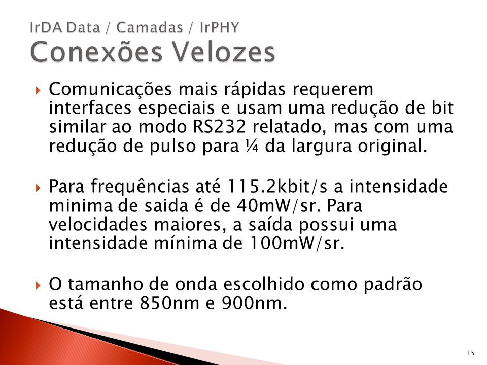 IrDA Data / Camadas / IrPHY Conexões Velozes