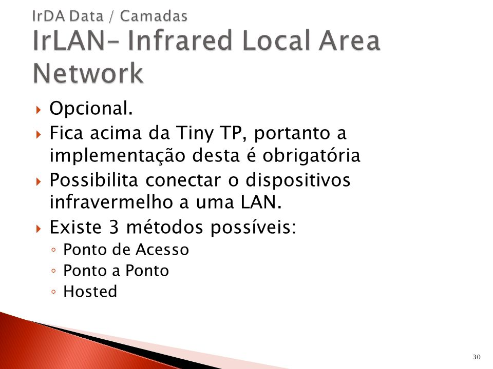 IrDA Data / Camadas IrLAN– Infrared Local Area Network