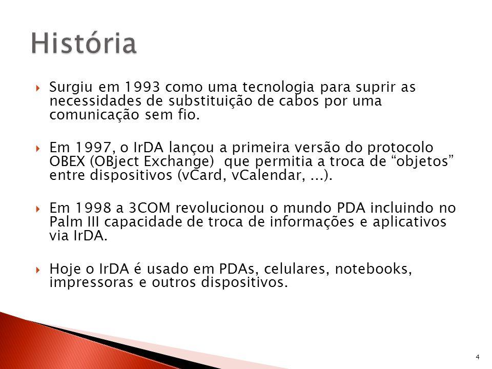 HistóriaSurgiu em 1993 como uma tecnologia para suprir as necessidades de substituição de cabos por uma comunicação sem fio.