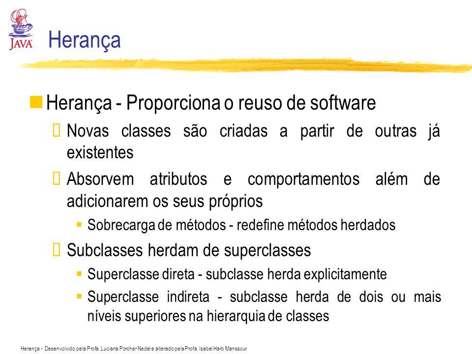 Herança Herança - Proporciona o reuso de software