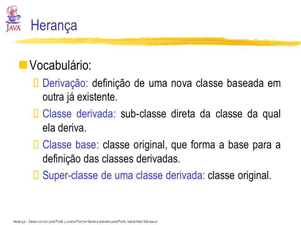 Herança Vocabulário: Derivação: definição de uma nova classe baseada em outra já existente.