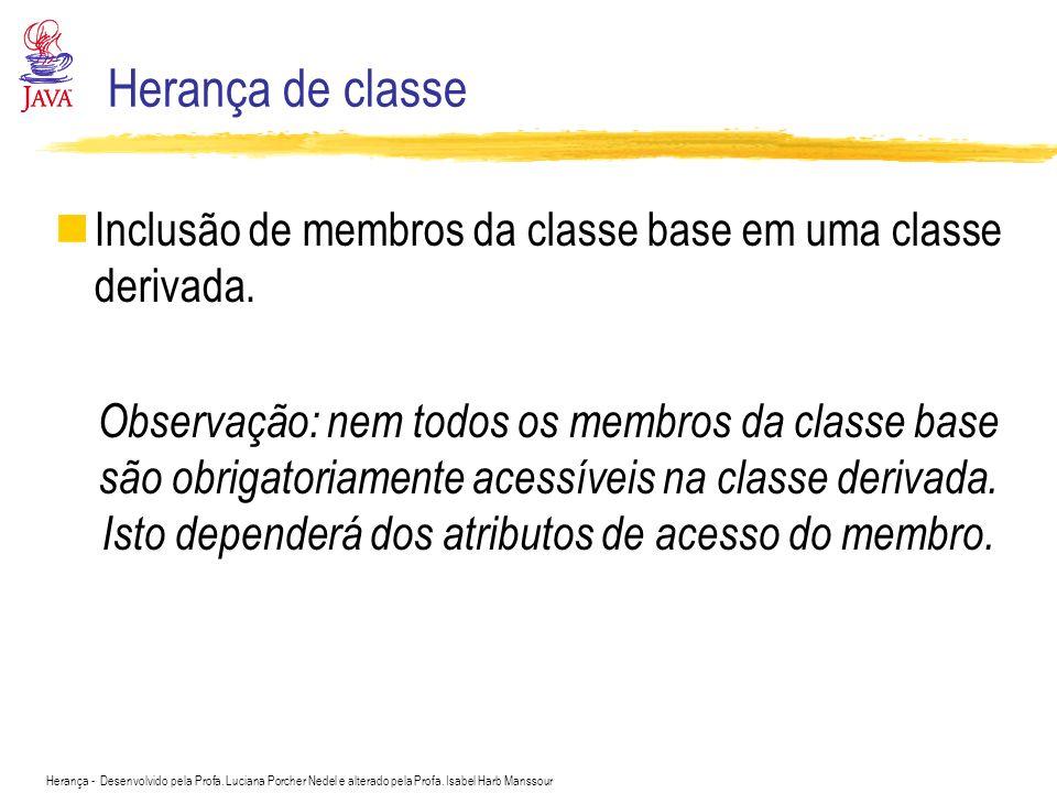 Herança de classe Inclusão de membros da classe base em uma classe derivada.