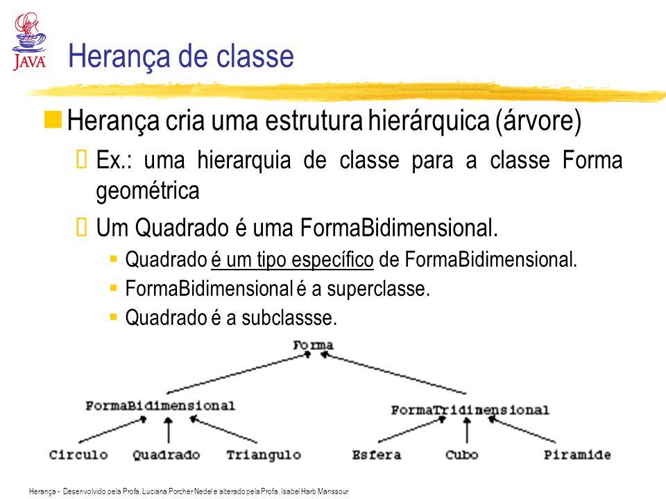 Herança de classe Herança cria uma estrutura hierárquica (árvore)