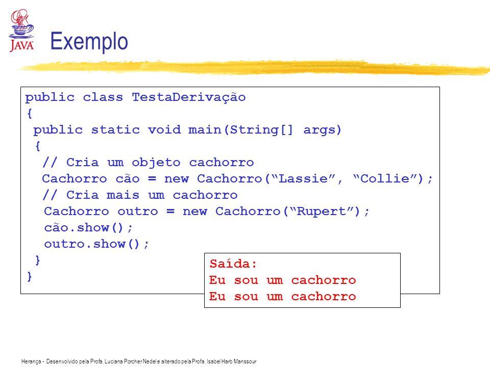 Exemplo public class TestaDerivação {