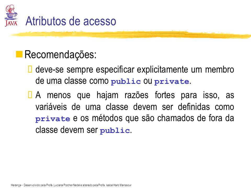 Atributos de acesso Recomendações: