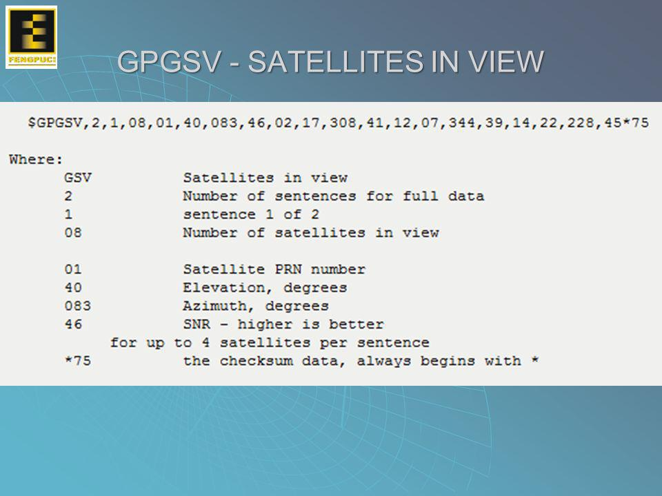 GPGSV - SATELLITES IN VIEW
