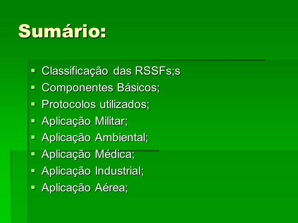 Sumário: Classificação das RSSFs;s Componentes Básicos;