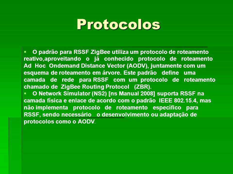 Protocolos O padrão para RSSF ZigBee utiliza um protocolo de roteamento reativo,aproveitando o já conhecido protocolo de roteamento