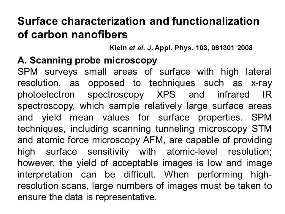 Surface characterization and functionalization of carbon nanofibers