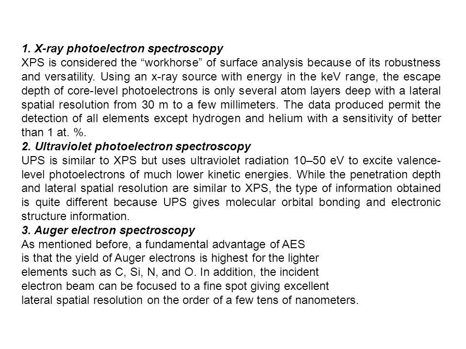 1. X-ray photoelectron spectroscopy