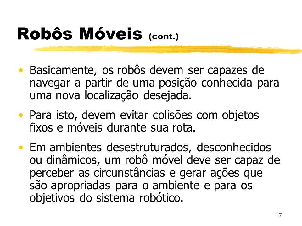 Robôs Móveis (cont.) Basicamente, os robôs devem ser capazes de navegar a partir de uma posição conhecida para uma nova localização desejada.