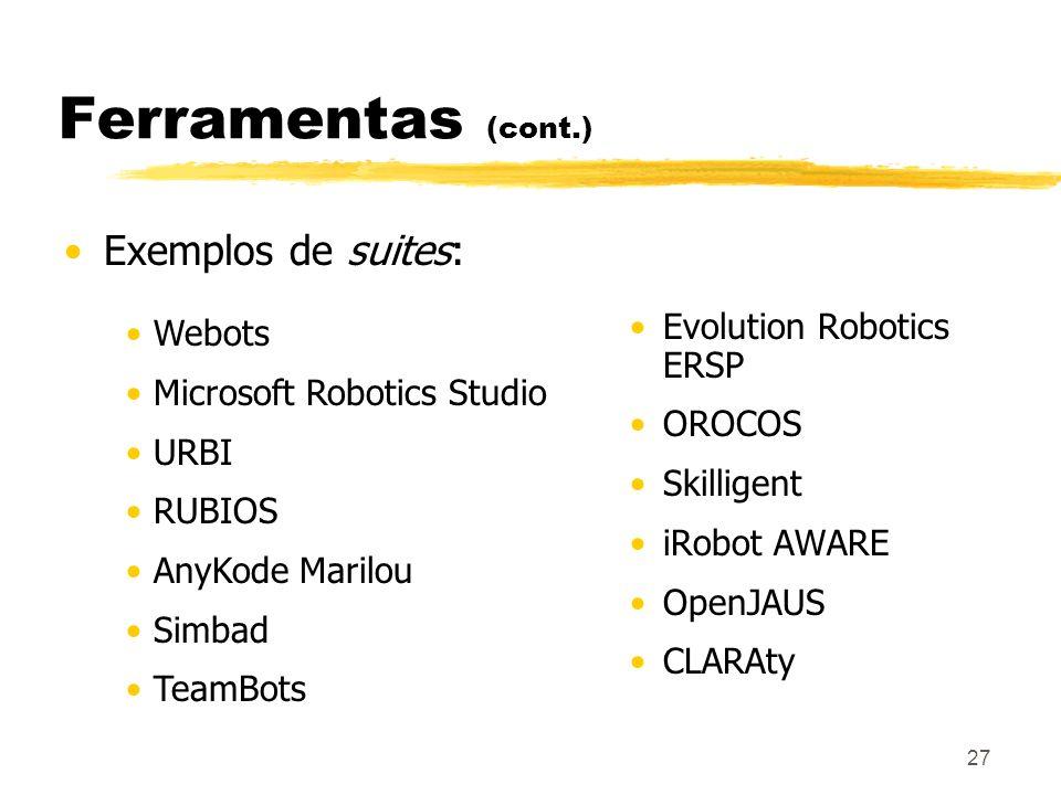 Ferramentas (cont.) Exemplos de suites: Evolution Robotics ERSP Webots