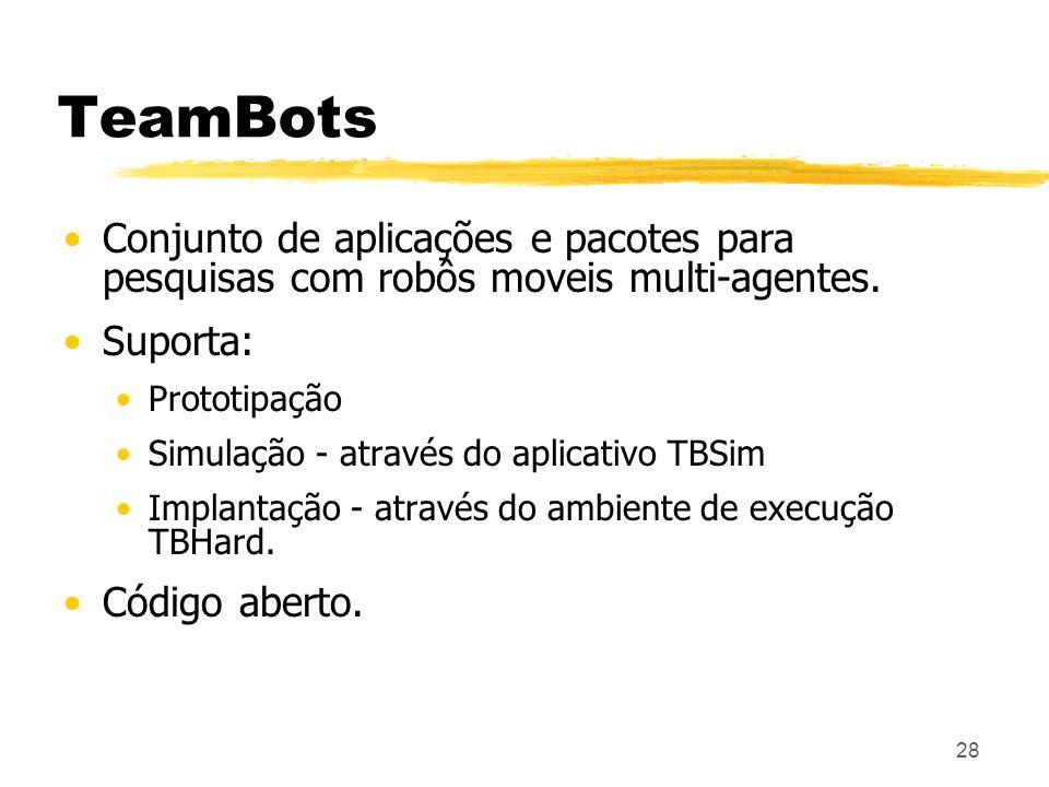 TeamBots Conjunto de aplicações e pacotes para pesquisas com robôs moveis multi-agentes. Suporta: Prototipação.