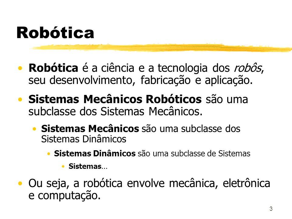 Robótica Robótica é a ciência e a tecnologia dos robôs, seu desenvolvimento, fabricação e aplicação.