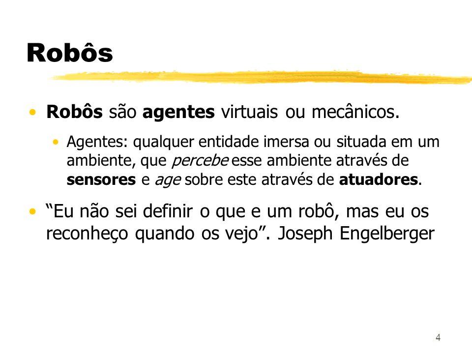 Robôs Robôs são agentes virtuais ou mecânicos.