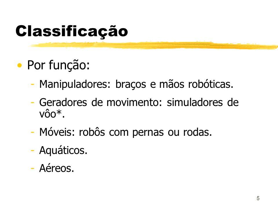 Classificação Por função: Manipuladores: braços e mãos robóticas.