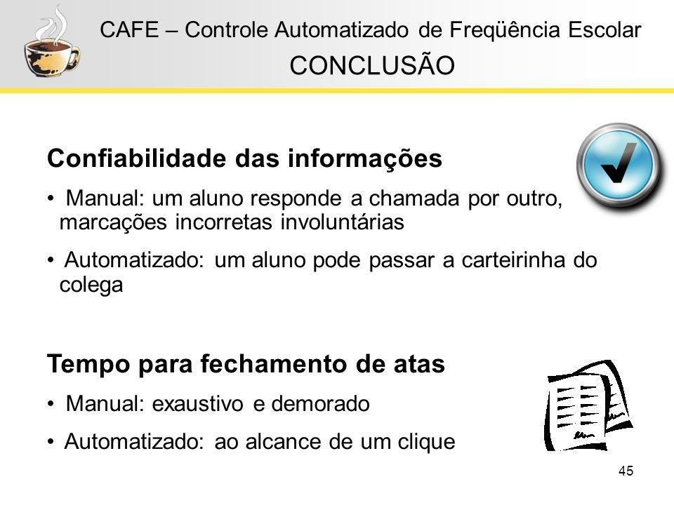 Confiabilidade das informações