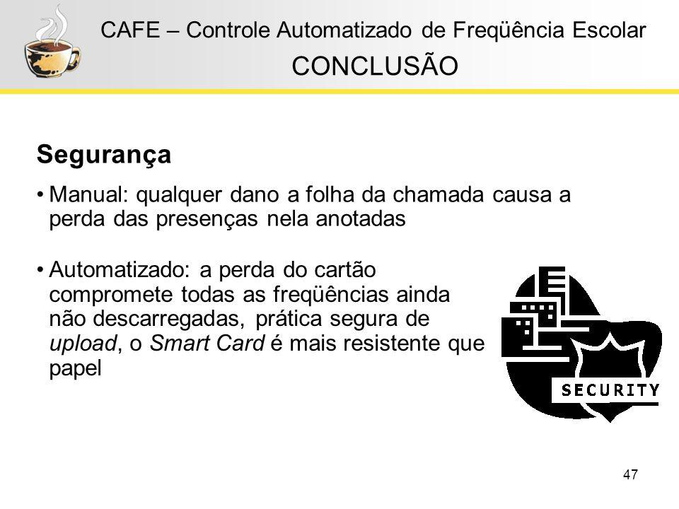 CONCLUSÃO Segurança CAFE – Controle Automatizado de Freqüência Escolar