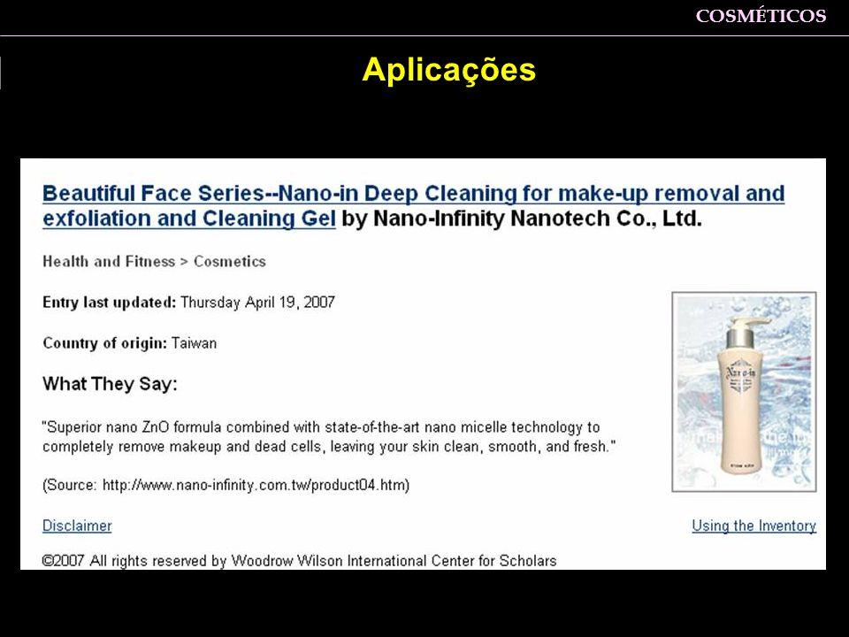 COSMÉTICOS Zaine: Aplicações
