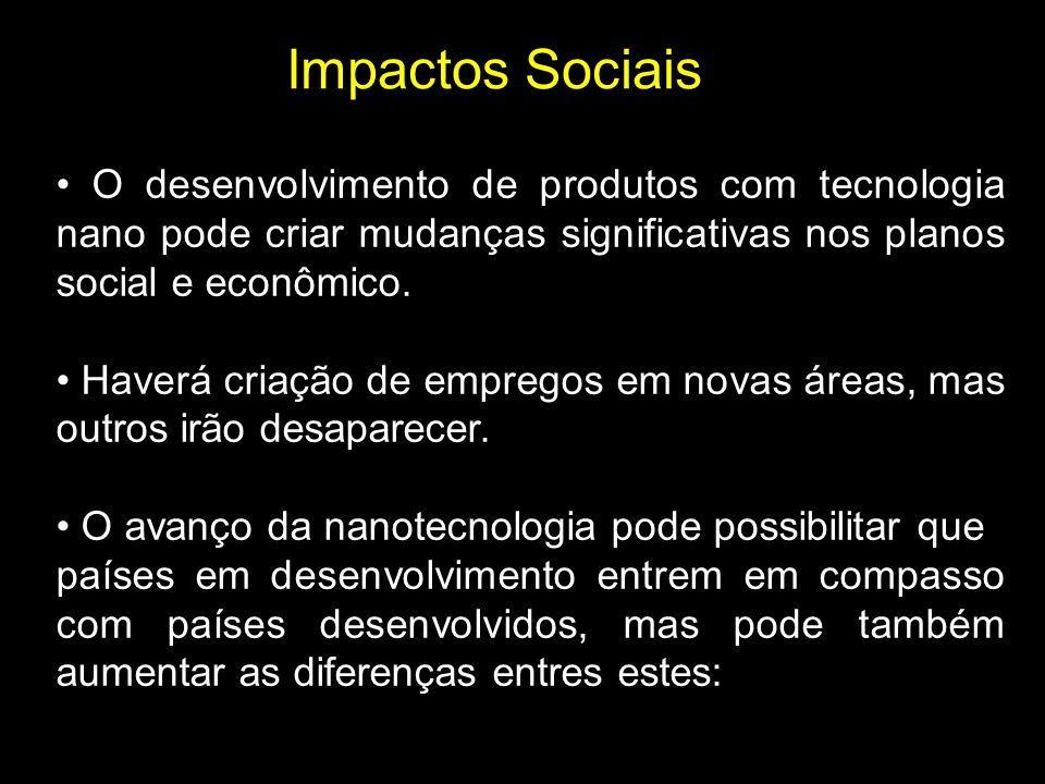 Impactos Sociais • O desenvolvimento de produtos com tecnologia nano pode criar mudanças significativas nos planos social e econômico.