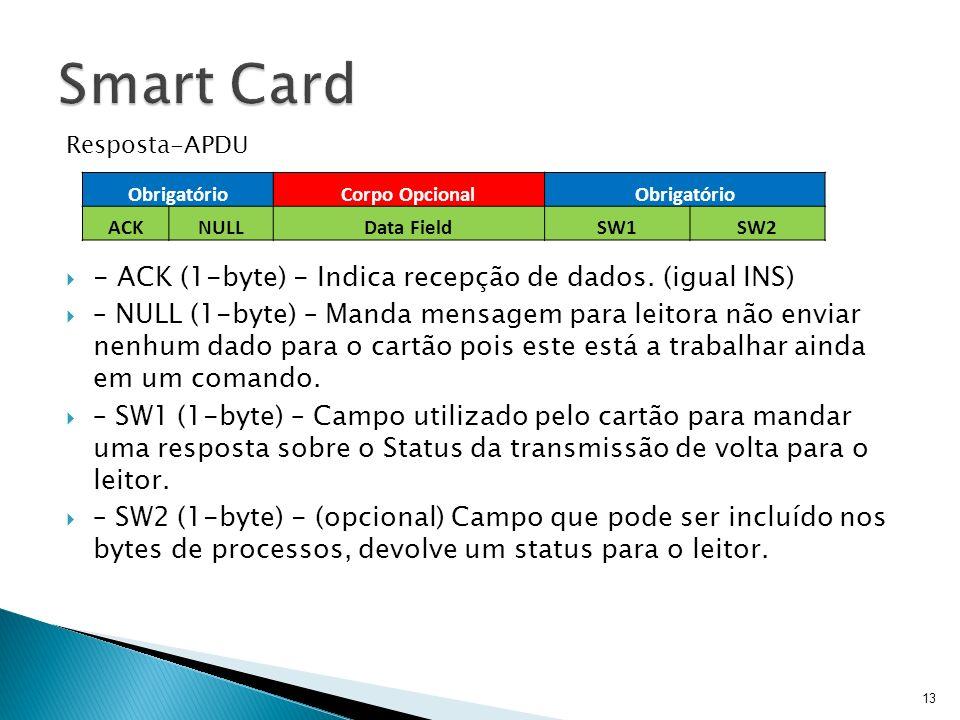 Smart Card - ACK (1-byte) - Indica recepção de dados. (igual INS)
