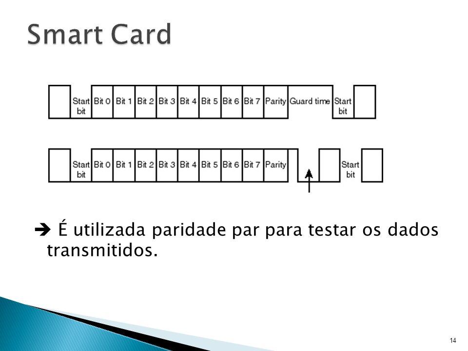 Smart Card  É utilizada paridade par para testar os dados transmitidos.