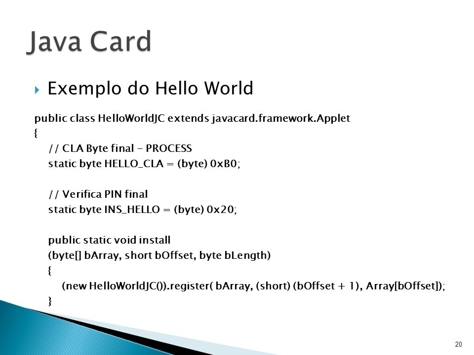 Java Card Exemplo do Hello World