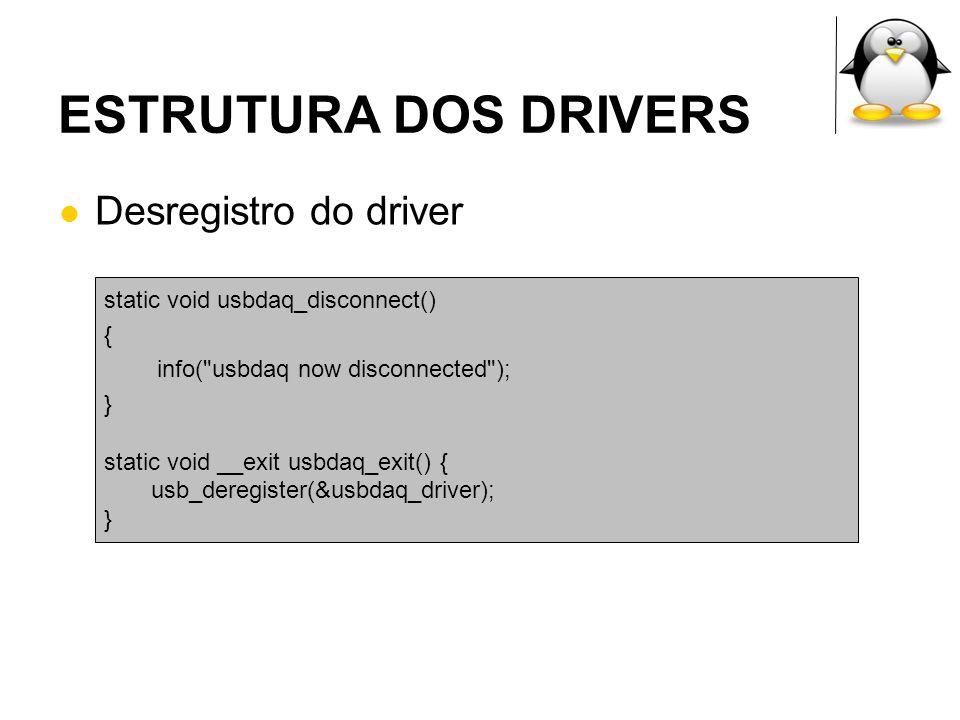 ESTRUTURA DOS DRIVERS Desregistro do driver