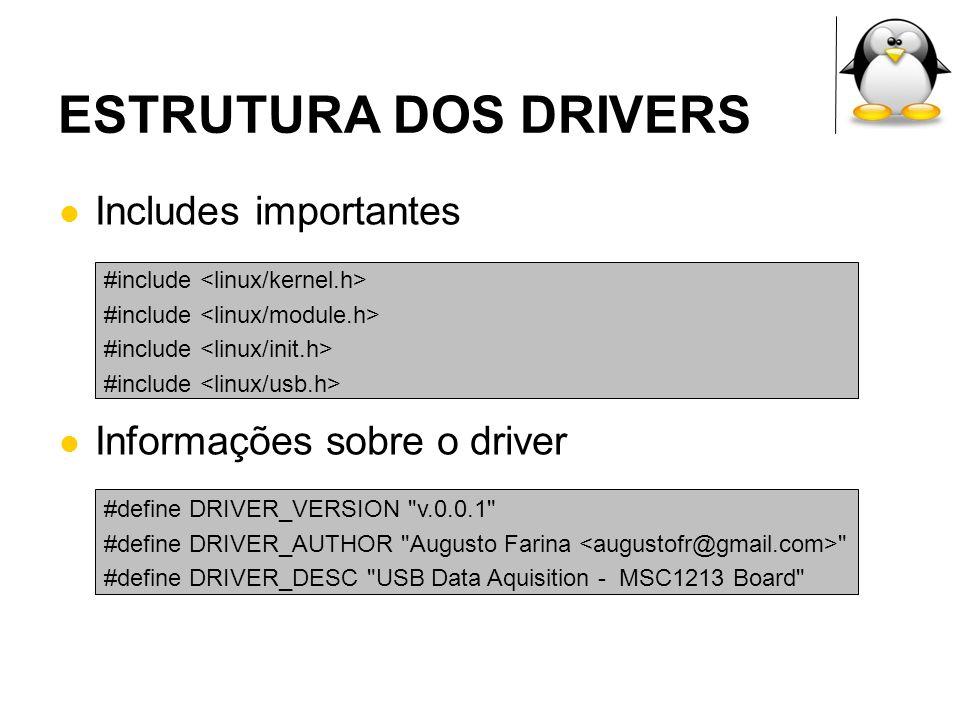 ESTRUTURA DOS DRIVERS Includes importantes Informações sobre o driver