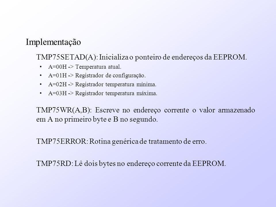 Implementação TMP75SETAD(A): Inicializa o ponteiro de endereços da EEPROM. A=00H -> Temperatura atual.