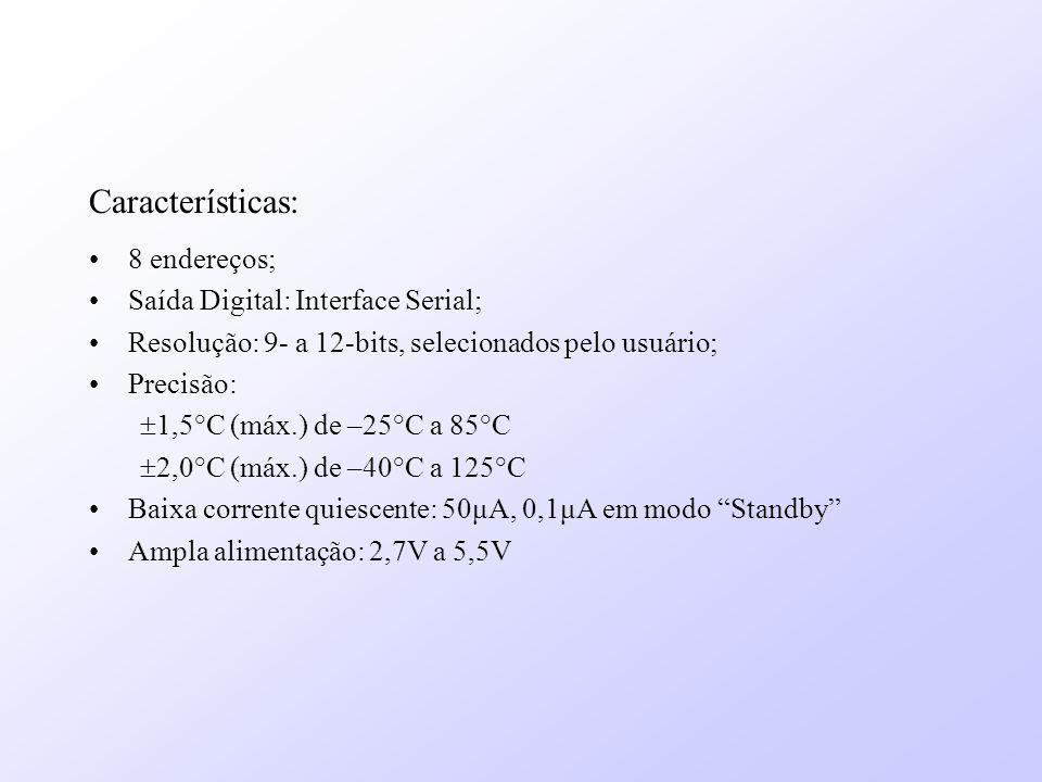 Características: 8 endereços; Saída Digital: Interface Serial;