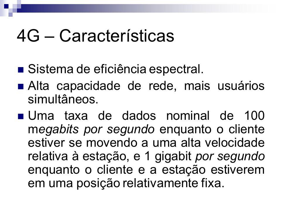4G – Características Sistema de eficiência espectral.