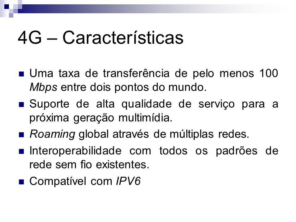 4G – Características Uma taxa de transferência de pelo menos 100 Mbps entre dois pontos do mundo.