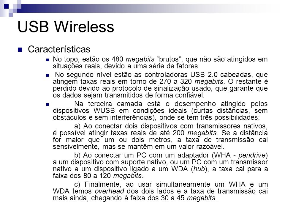 USB Wireless Características