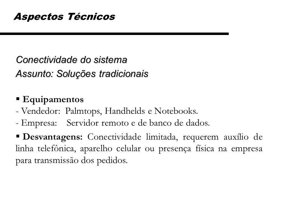 Aspectos Técnicos Conectividade do sistema. Assunto: Soluções tradicionais.