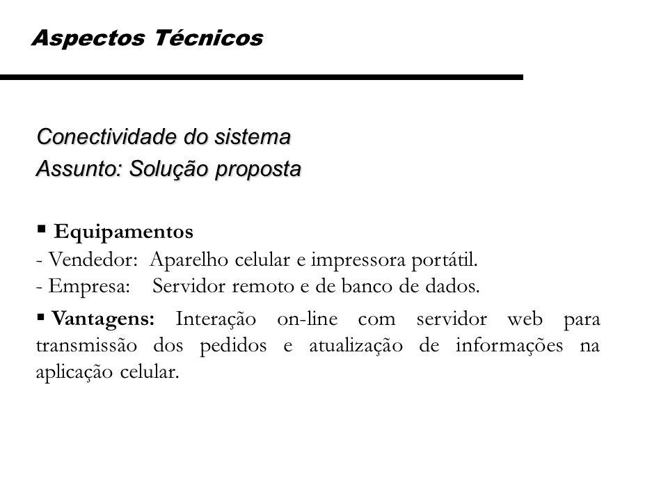 Aspectos Técnicos Conectividade do sistema. Assunto: Solução proposta.