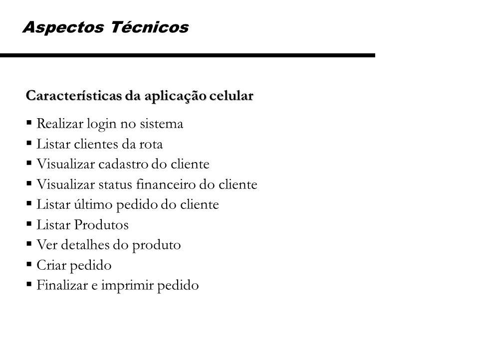 Aspectos Técnicos Características da aplicação celular