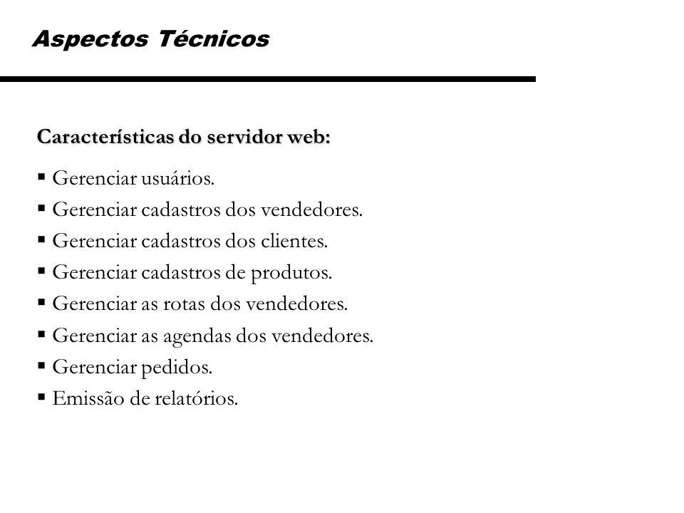 Aspectos Técnicos Características do servidor web: Gerenciar usuários.