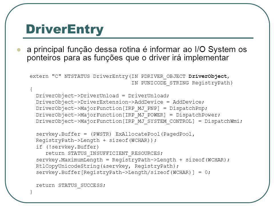 DriverEntry a principal função dessa rotina é informar ao I/O System os ponteiros para as funções que o driver irá implementar.