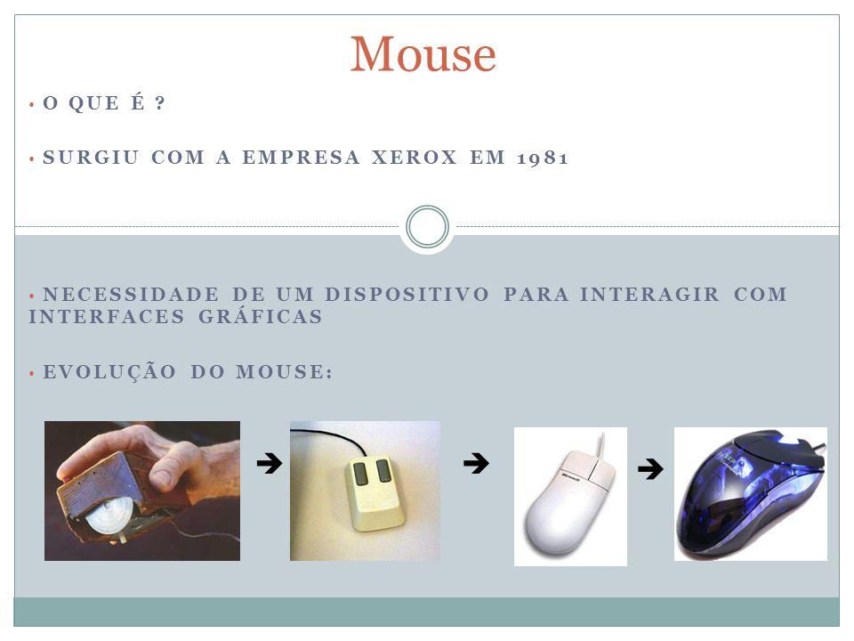 Mouse    O QUE É SURGIU COM A EMPRESA XEROX EM 1981