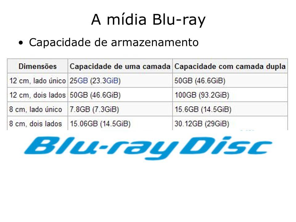 A mídia Blu-ray Capacidade de armazenamento