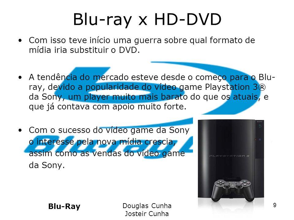 Blu-ray x HD-DVD Com isso teve início uma guerra sobre qual formato de mídia iria substituir o DVD.