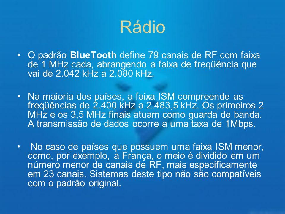 Rádio O padrão BlueTooth define 79 canais de RF com faixa de 1 MHz cada, abrangendo a faixa de freqüência que vai de 2.042 kHz a 2.080 kHz.