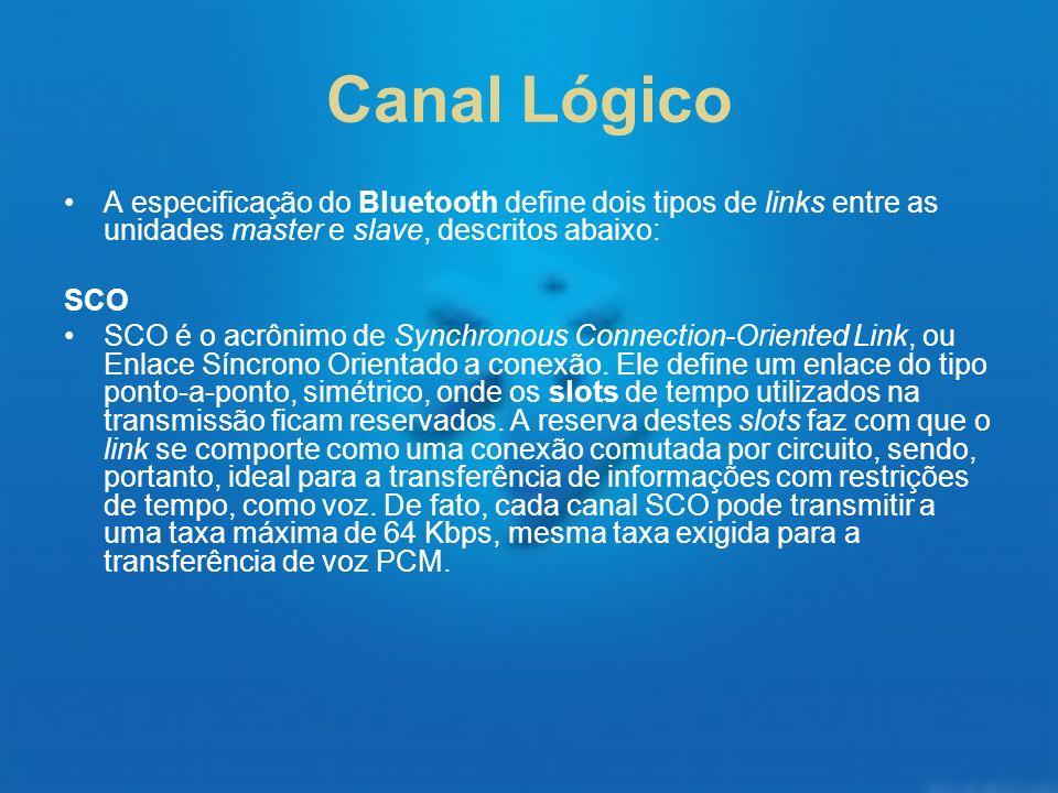 Canal Lógico A especificação do Bluetooth define dois tipos de links entre as unidades master e slave, descritos abaixo: