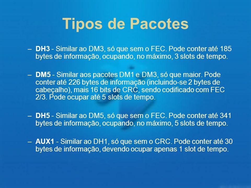 Tipos de Pacotes DH3 - Similar ao DM3, só que sem o FEC. Pode conter até 185 bytes de informação, ocupando, no máximo, 3 slots de tempo.