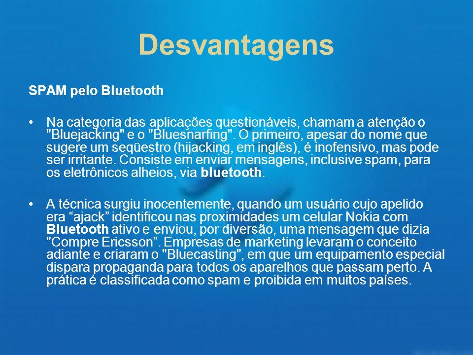 Desvantagens SPAM pelo Bluetooth