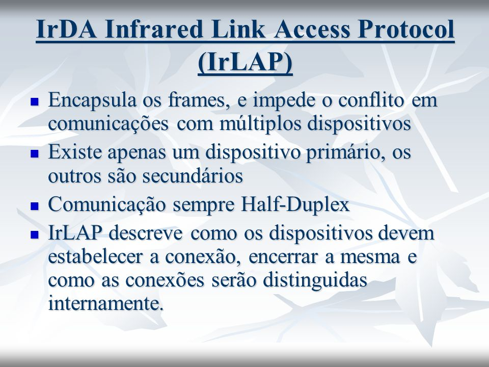 IrDA Infrared Link Access Protocol (IrLAP)